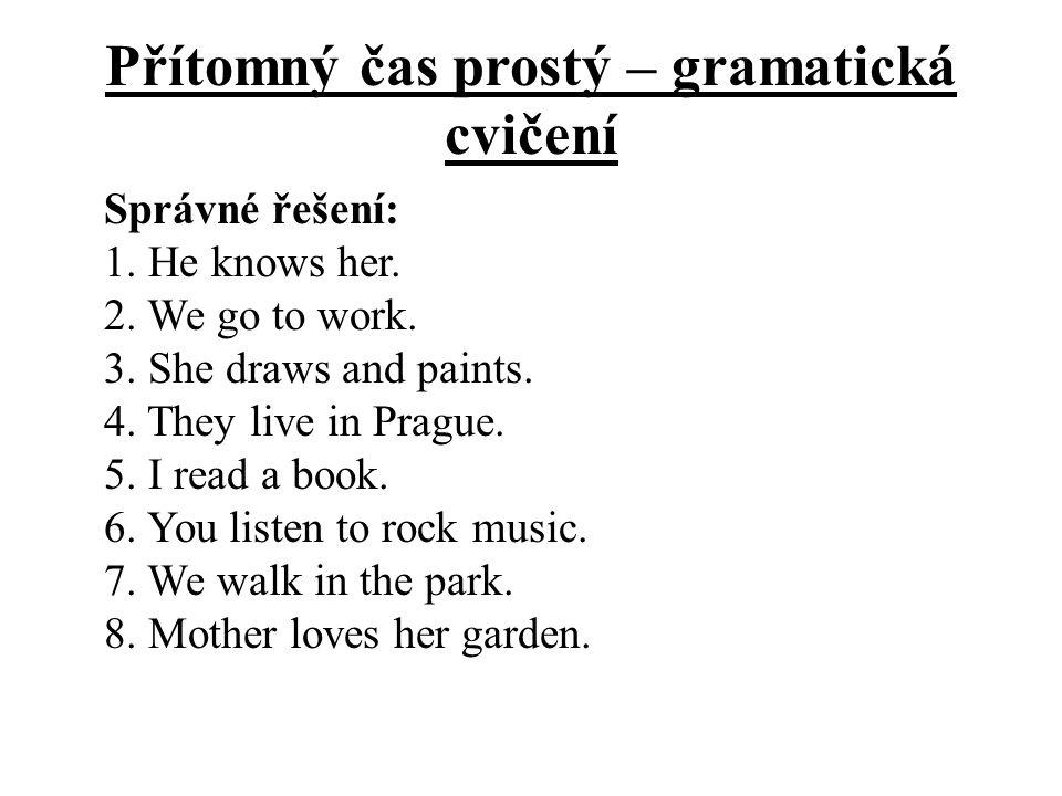 Přítomný čas prostý – gramatická cvičení