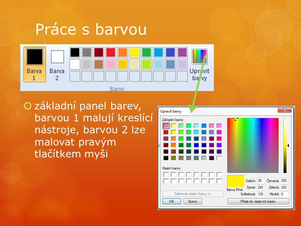Práce s barvou základní panel barev, barvou 1 malují kreslící nástroje, barvou 2 lze malovat pravým tlačítkem myši.