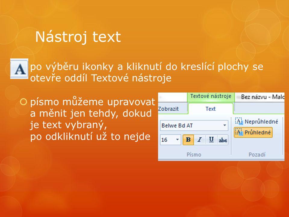 Nástroj text po výběru ikonky a kliknutí do kreslící plochy se otevře oddíl Textové nástroje.