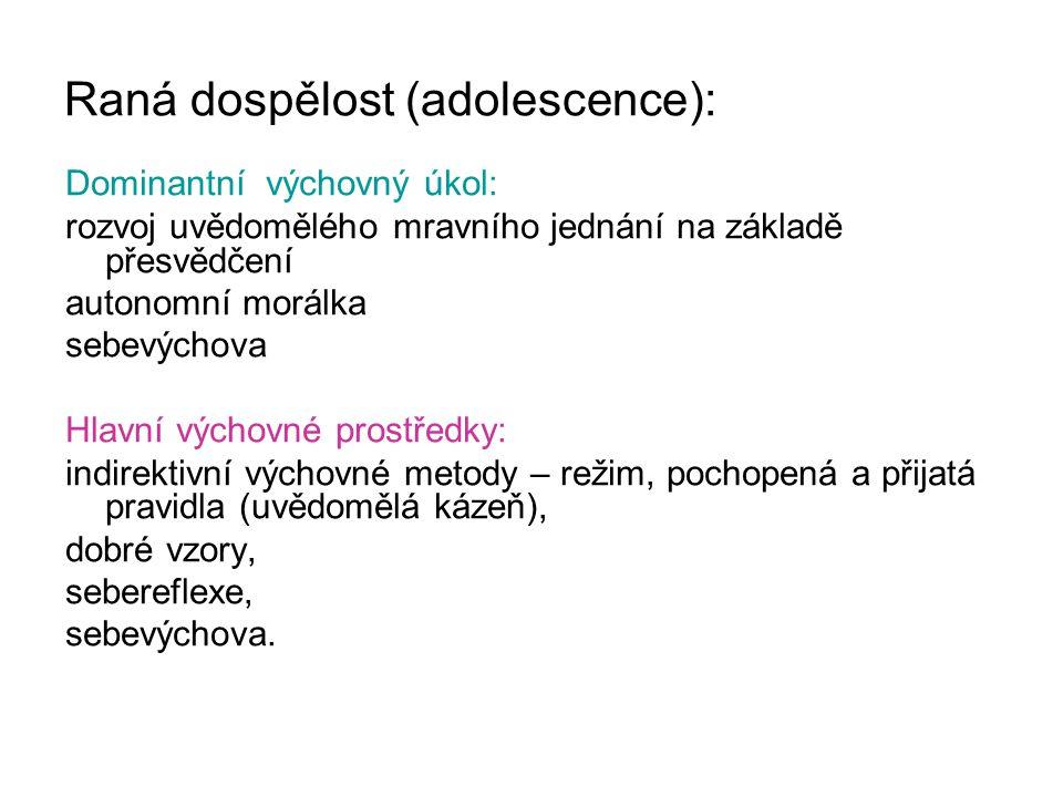 Raná dospělost (adolescence):