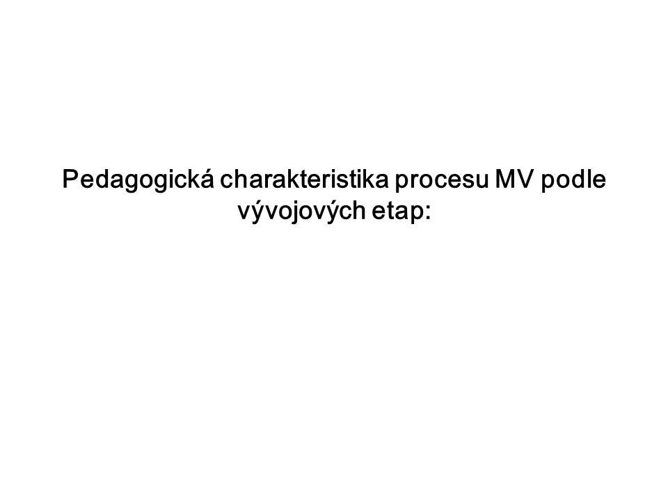 Pedagogická charakteristika procesu MV podle vývojových etap: