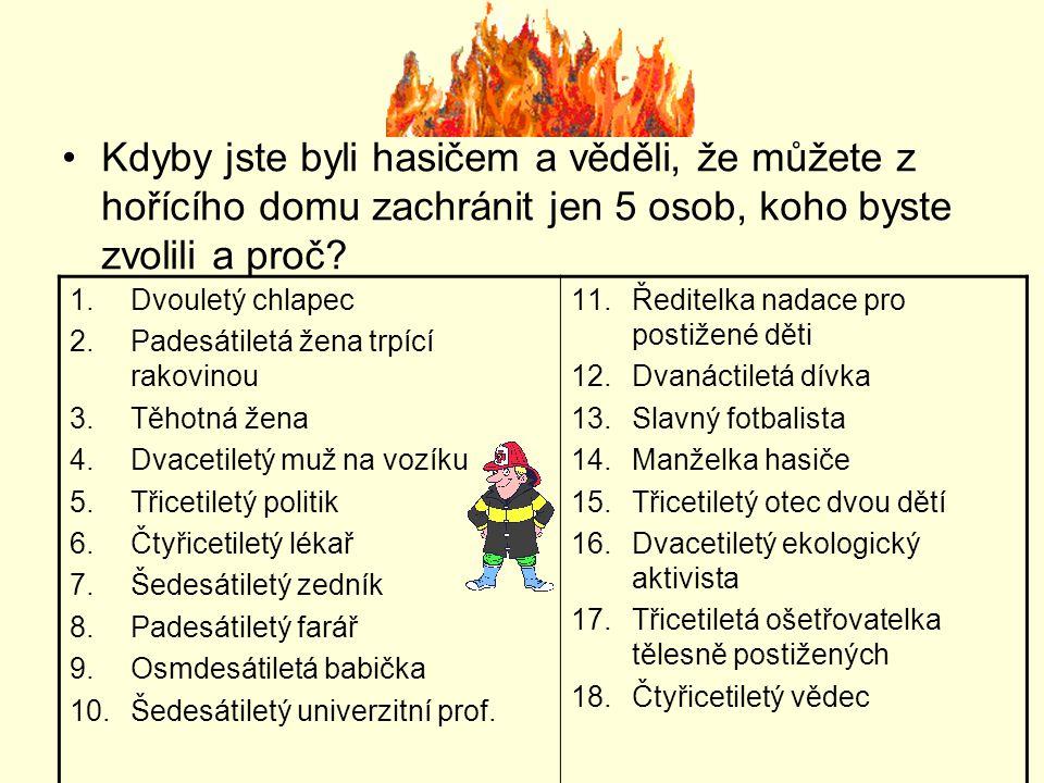 Kdyby jste byli hasičem a věděli, že můžete z hořícího domu zachránit jen 5 osob, koho byste zvolili a proč