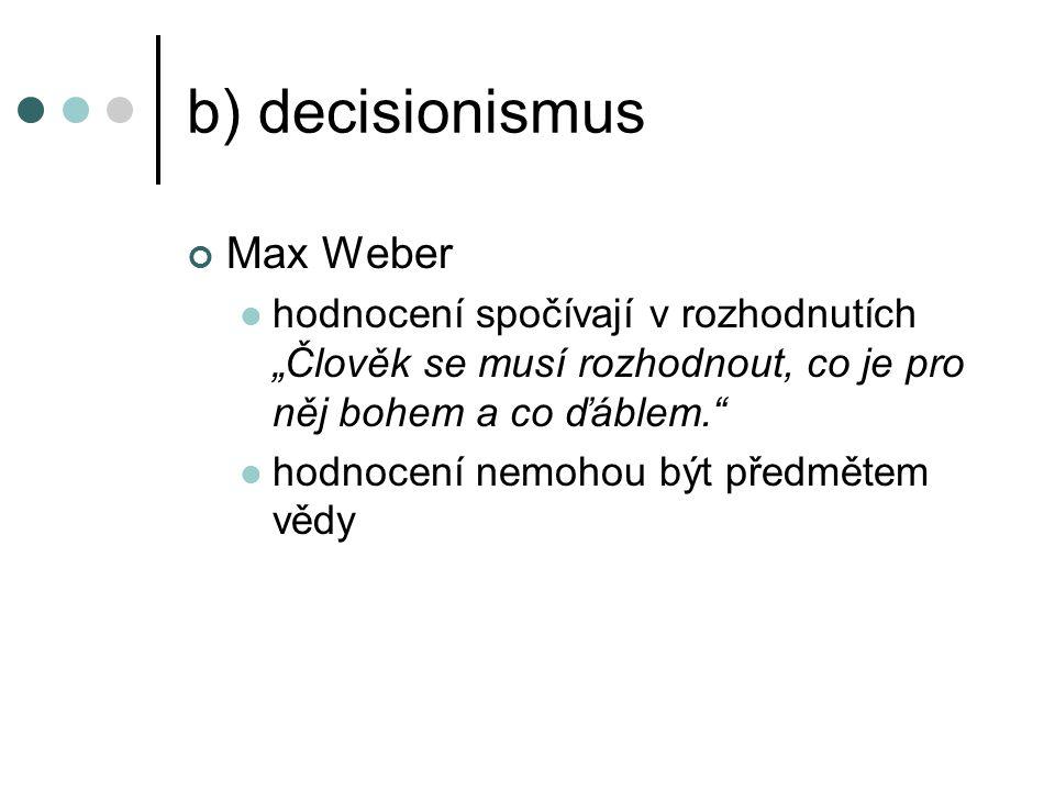 b) decisionismus Max Weber