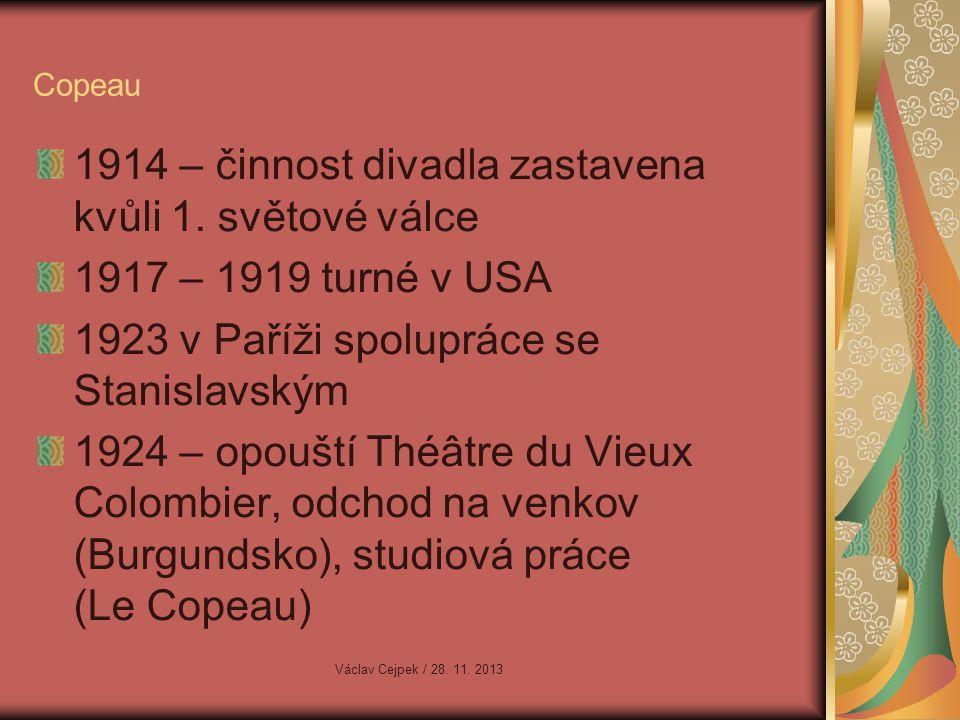 1914 – činnost divadla zastavena kvůli 1. světové válce
