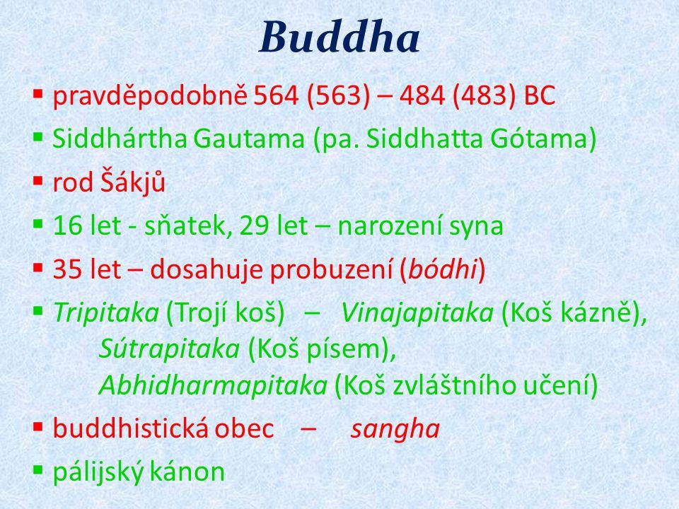 Buddha pravděpodobně 564 (563) – 484 (483) BC