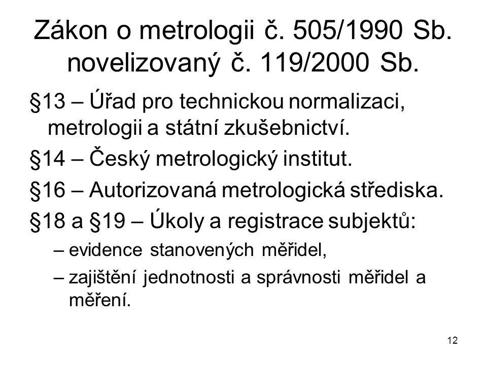 Zákon o metrologii č. 505/1990 Sb. novelizovaný č. 119/2000 Sb.