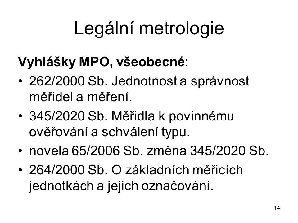 Legální metrologie Vyhlášky MPO, všeobecné: