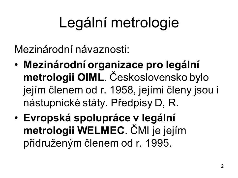 Legální metrologie Mezinárodní návaznosti: