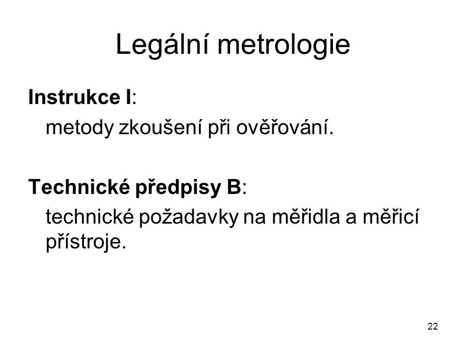 Legální metrologie Instrukce I: metody zkoušení při ověřování.