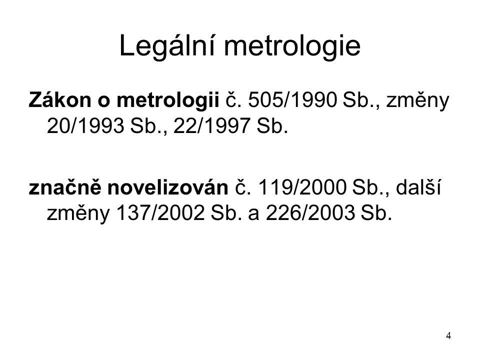 Legální metrologie Zákon o metrologii č. 505/1990 Sb., změny 20/1993 Sb., 22/1997 Sb.