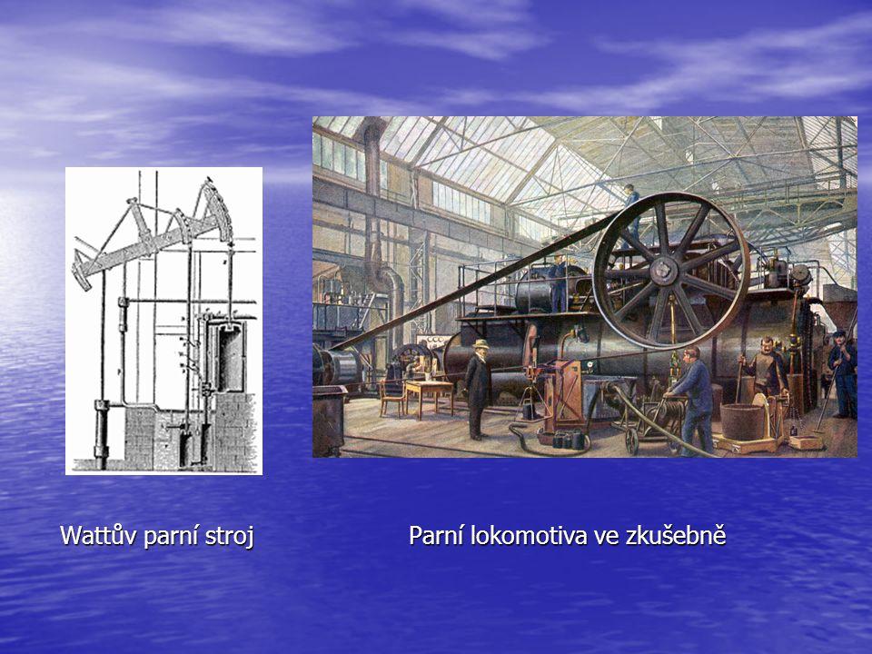 Wattův parní stroj Parní lokomotiva ve zkušebně