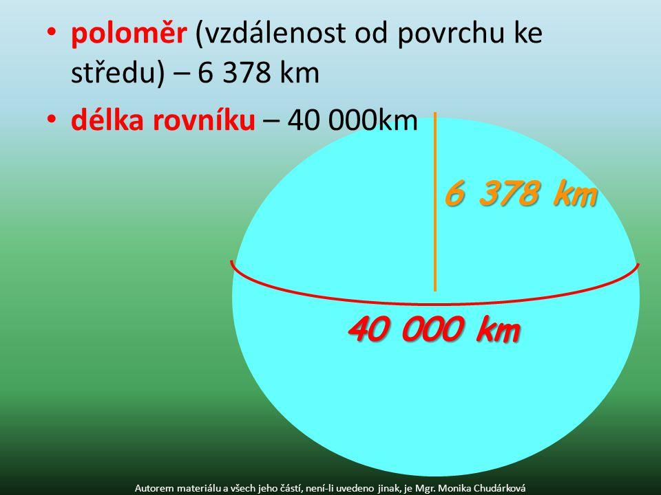 poloměr (vzdálenost od povrchu ke středu) – 6 378 km