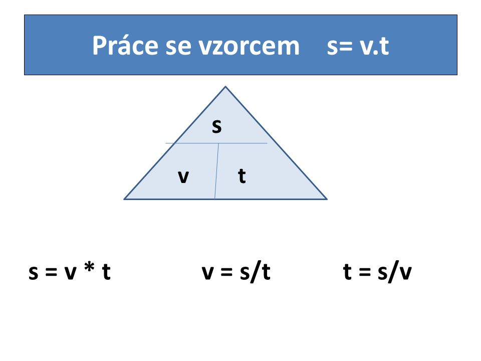 Práce se vzorcem s= v.t s v t s = v * t v = s/t t = s/v