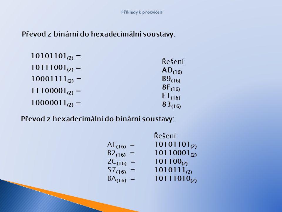 Převod z binární do hexadecimální soustavy: