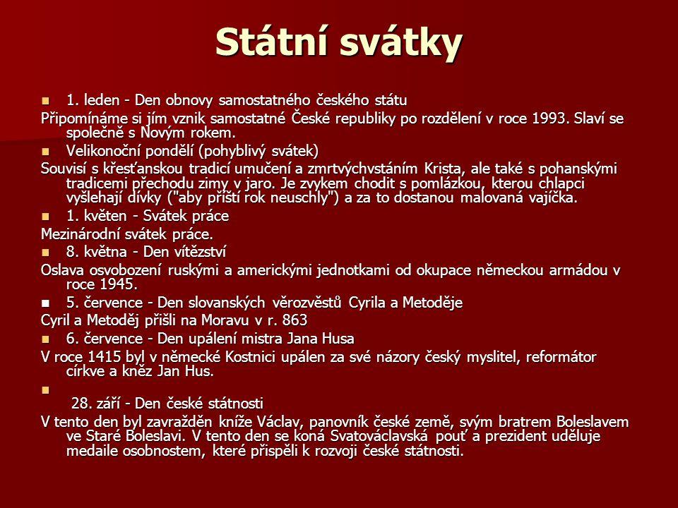 Státní svátky 1. leden - Den obnovy samostatného českého státu