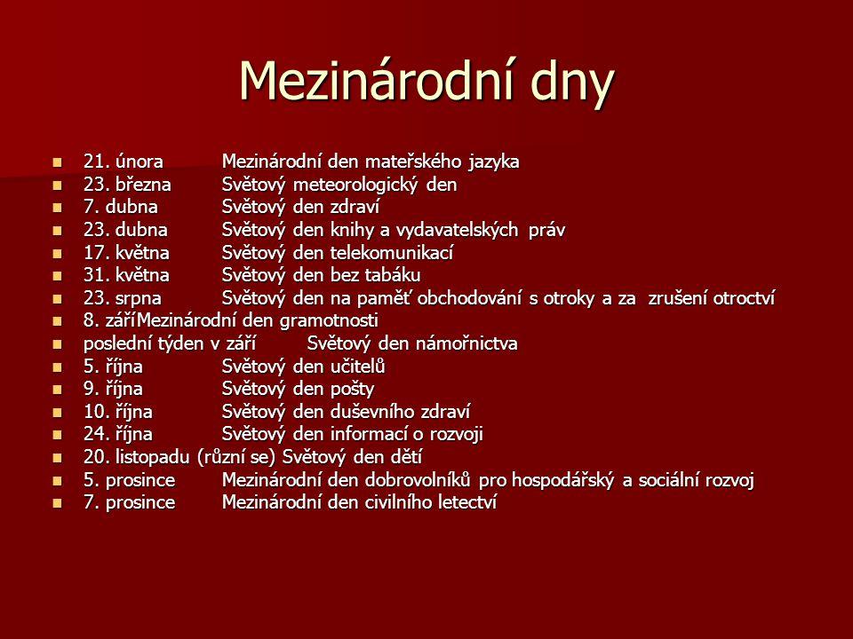 Mezinárodní dny 21. února Mezinárodní den mateřského jazyka
