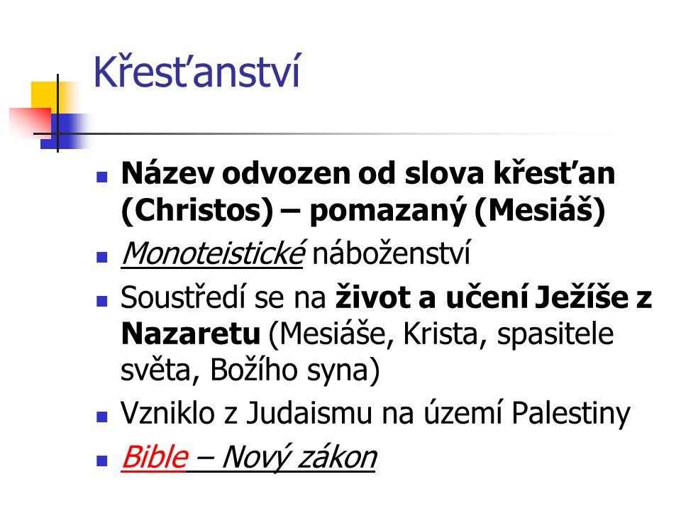 Křesťanství Název odvozen od slova křesťan (Christos) – pomazaný (Mesiáš) Monoteistické náboženství.