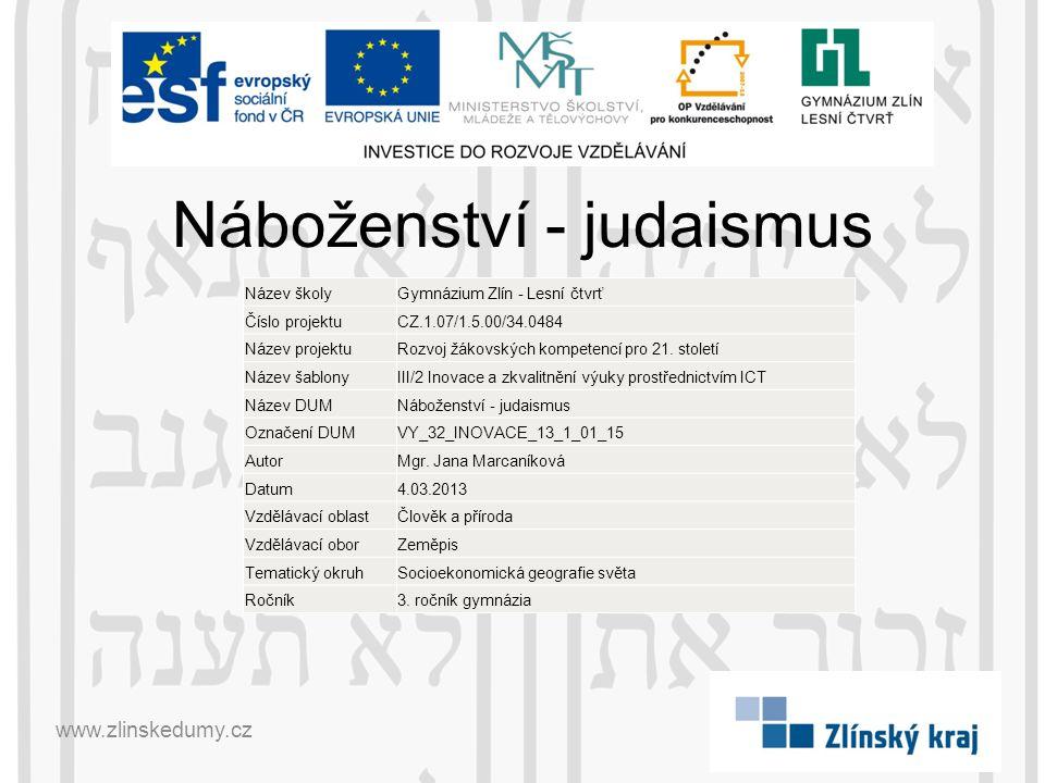 Náboženství - judaismus