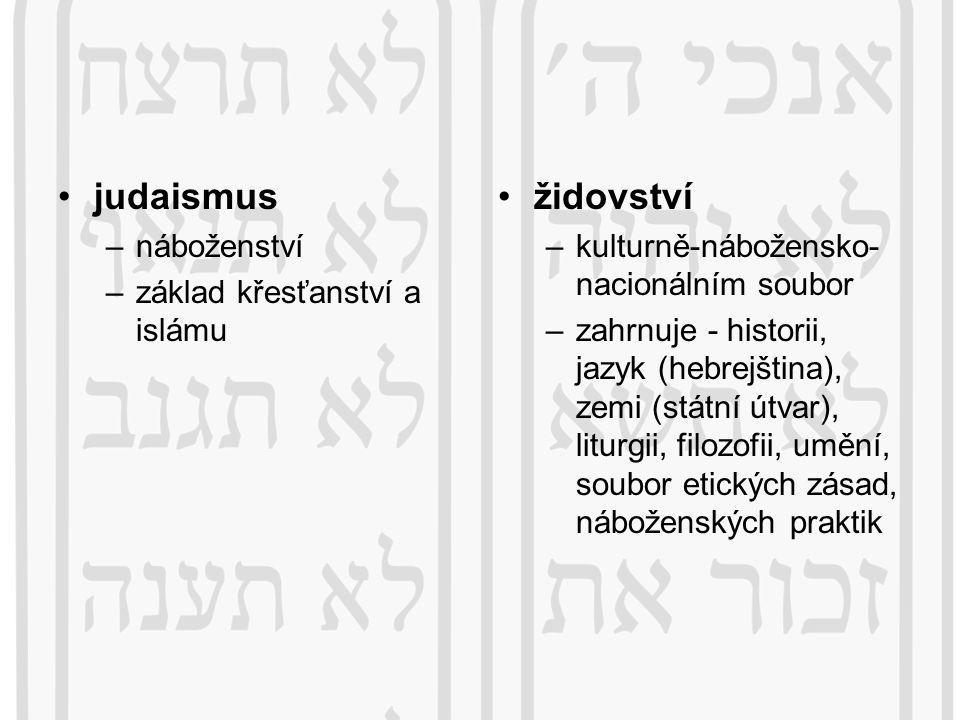 judaismus židovství náboženství základ křesťanství a islámu