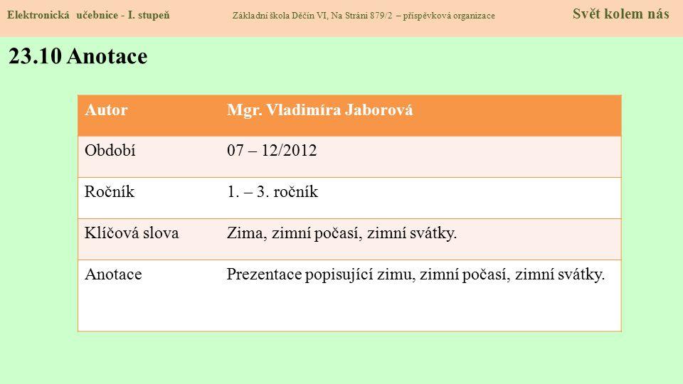 23.10 Anotace Autor Mgr. Vladimíra Jaborová Období 07 – 12/2012 Ročník