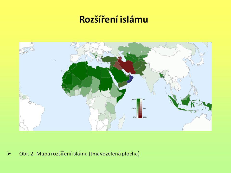 Rozšíření islámu Obr. 2: Mapa rozšíření islámu (tmavozelená plocha)