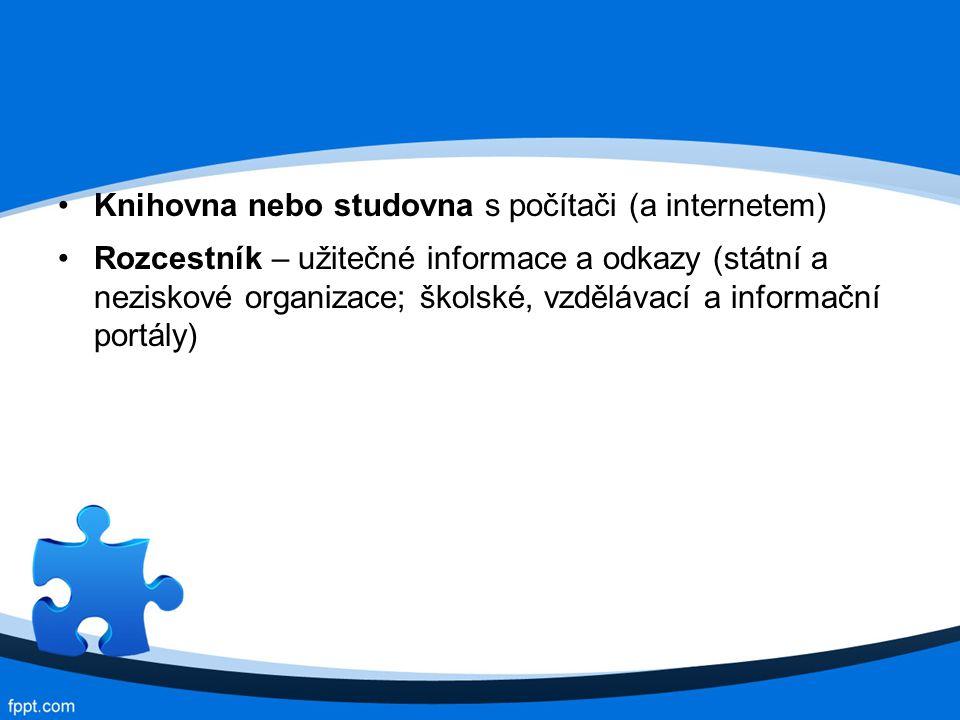 Knihovna nebo studovna s počítači (a internetem)
