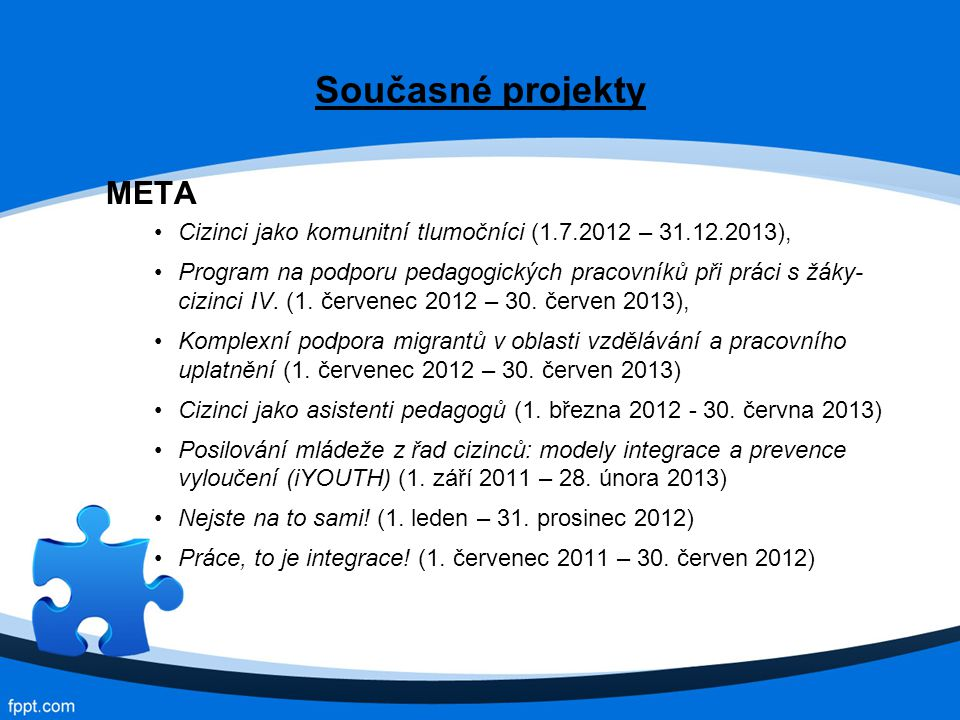 Současné projekty META