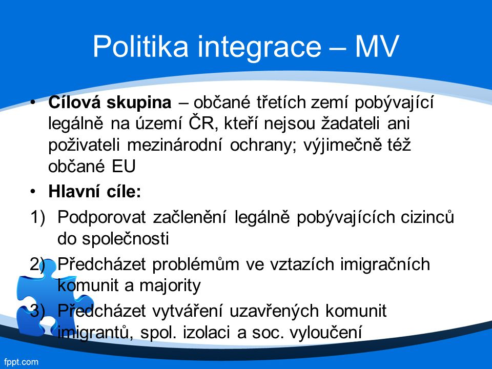 Politika integrace – MV
