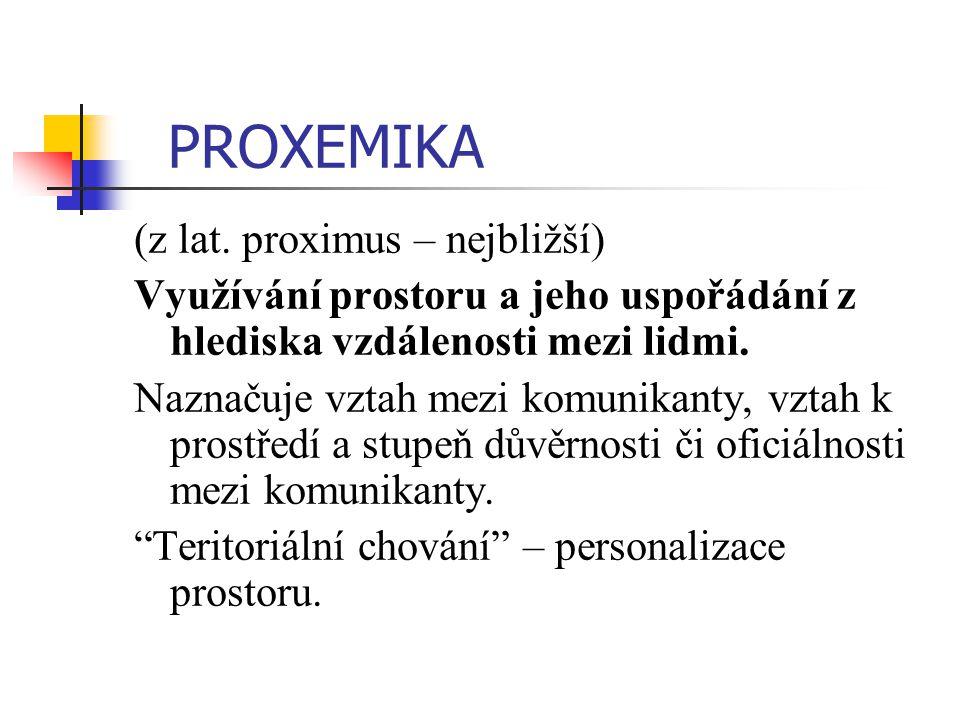 PROXEMIKA (z lat. proximus – nejbližší)