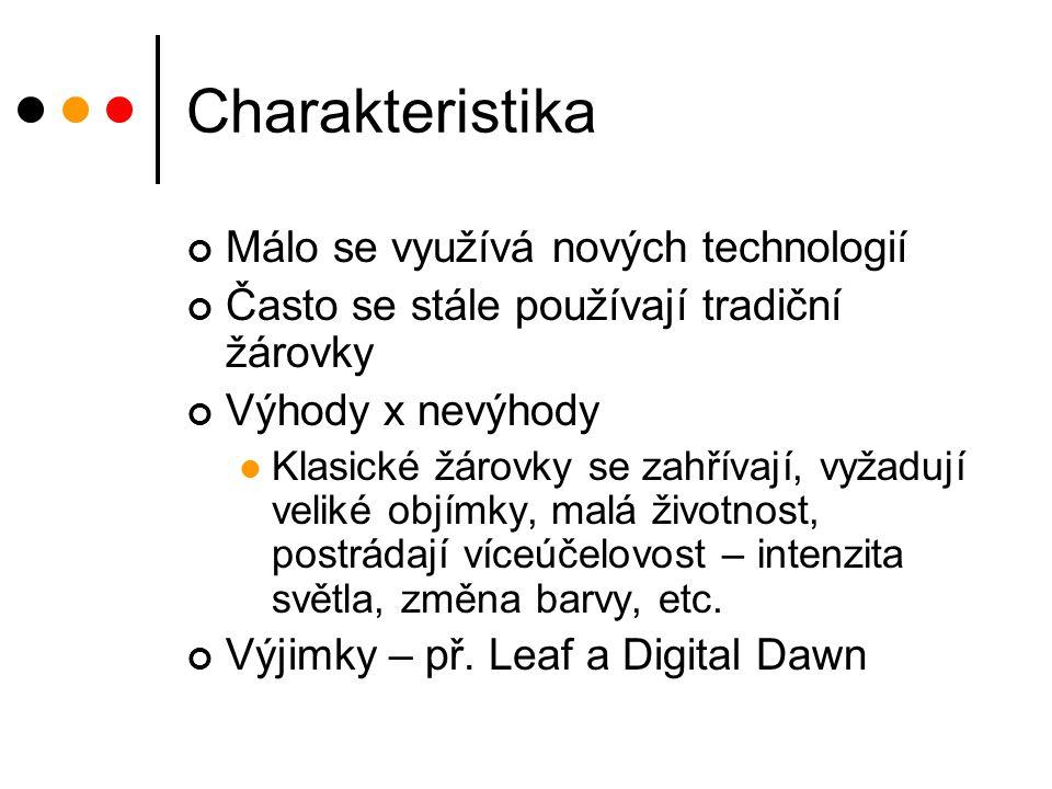 Charakteristika Málo se využívá nových technologií