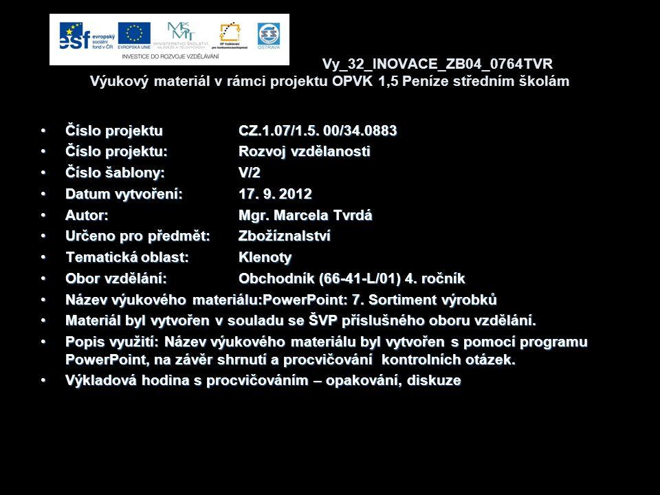 Vy_32_INOVACE_ZB04_0764TVR Výukový materiál v rámci projektu OPVK 1,5 Peníze středním školám