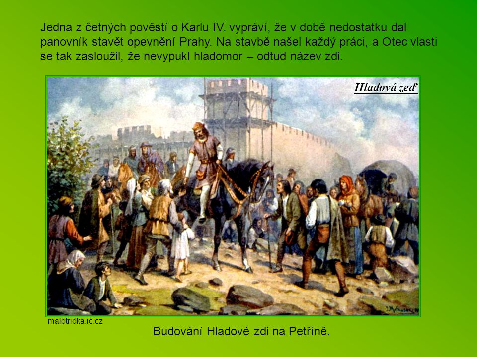 Budování Hladové zdi na Petříně.