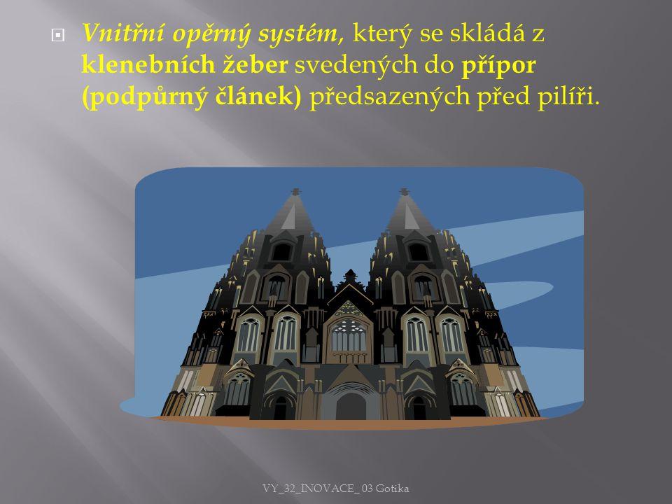 Vnitřní opěrný systém, který se skládá z klenebních žeber svedených do přípor (podpůrný článek) předsazených před pilíři.