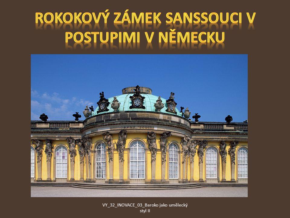Rokokový zámek Sanssouci v Postupimi v Německu