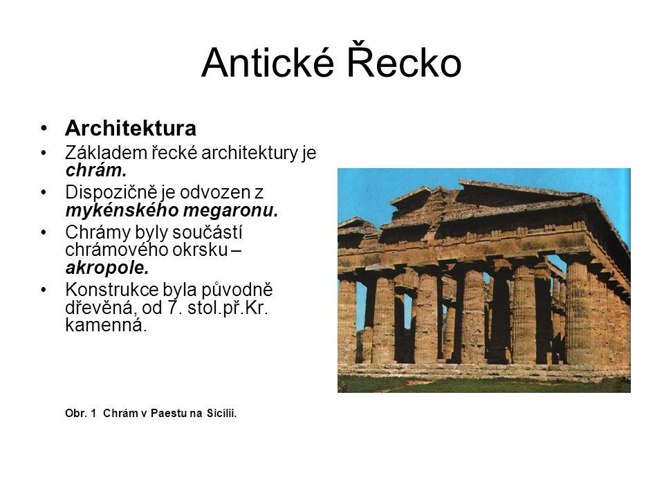 Antické Řecko Architektura Základem řecké architektury je chrám.