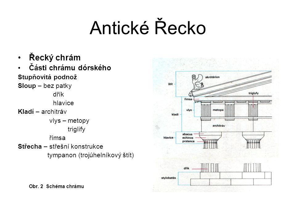 Antické Řecko Řecký chrám Části chrámu dórského Stupňovitá podnož