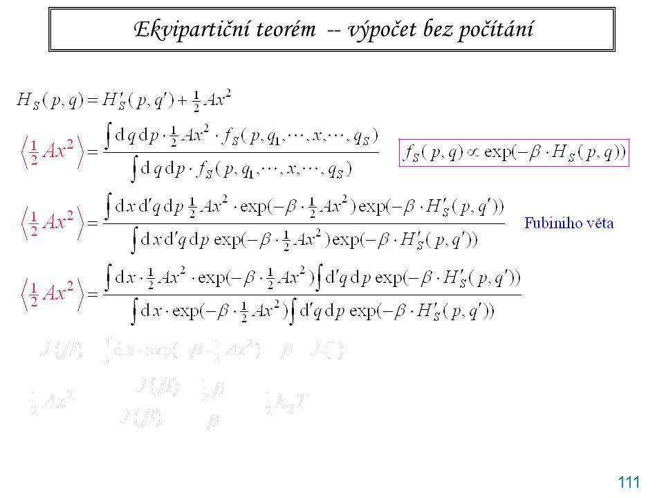 Ekvipartiční teorém -- výpočet bez počítání