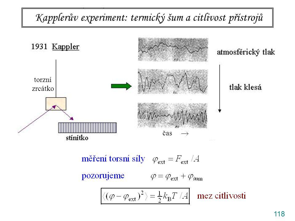 Kapplerův experiment: termický šum a citlivost přístrojů