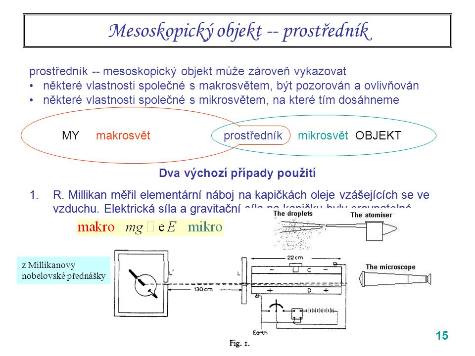 Mesoskopický objekt -- prostředník