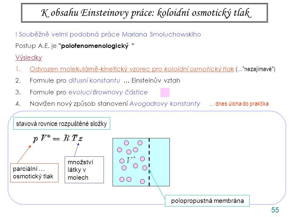 K obsahu Einsteinovy práce: koloidní osmotický tlak