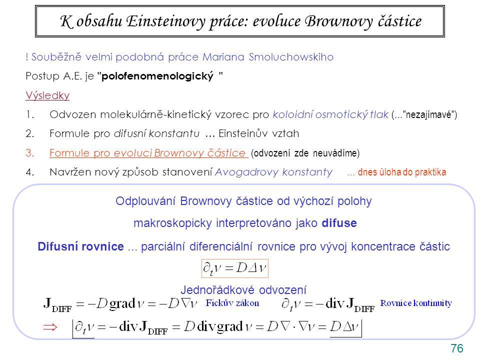 K obsahu Einsteinovy práce: evoluce Brownovy částice