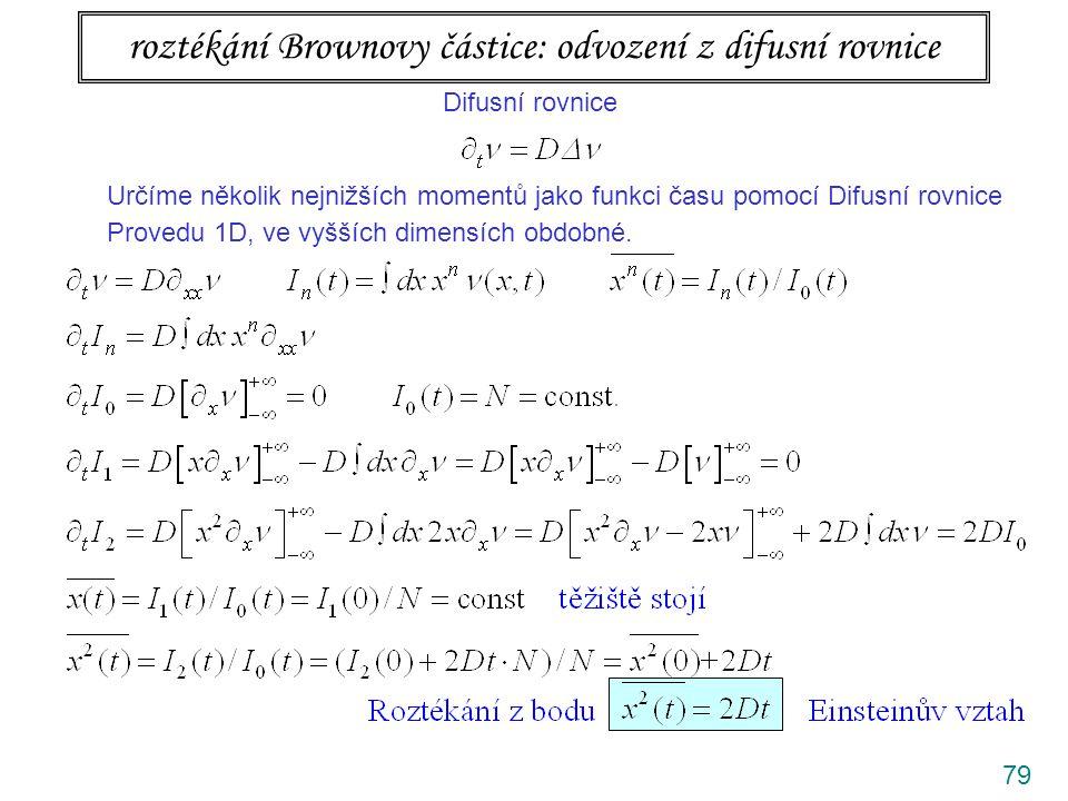 roztékání Brownovy částice: odvození z difusní rovnice