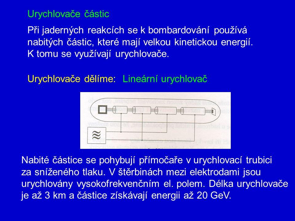 Urychlovače částic Při jaderných reakcích se k bombardování používá. nabitých částic, které mají velkou kinetickou energií.