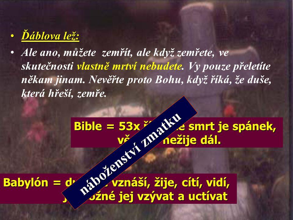 náboženství zmatku Ďáblova lež: