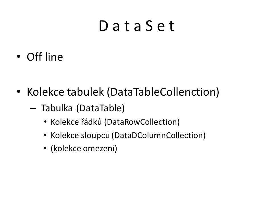 D a t a S e t Off line Kolekce tabulek (DataTableCollenction)