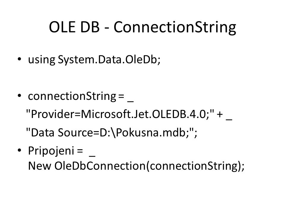 OLE DB - ConnectionString