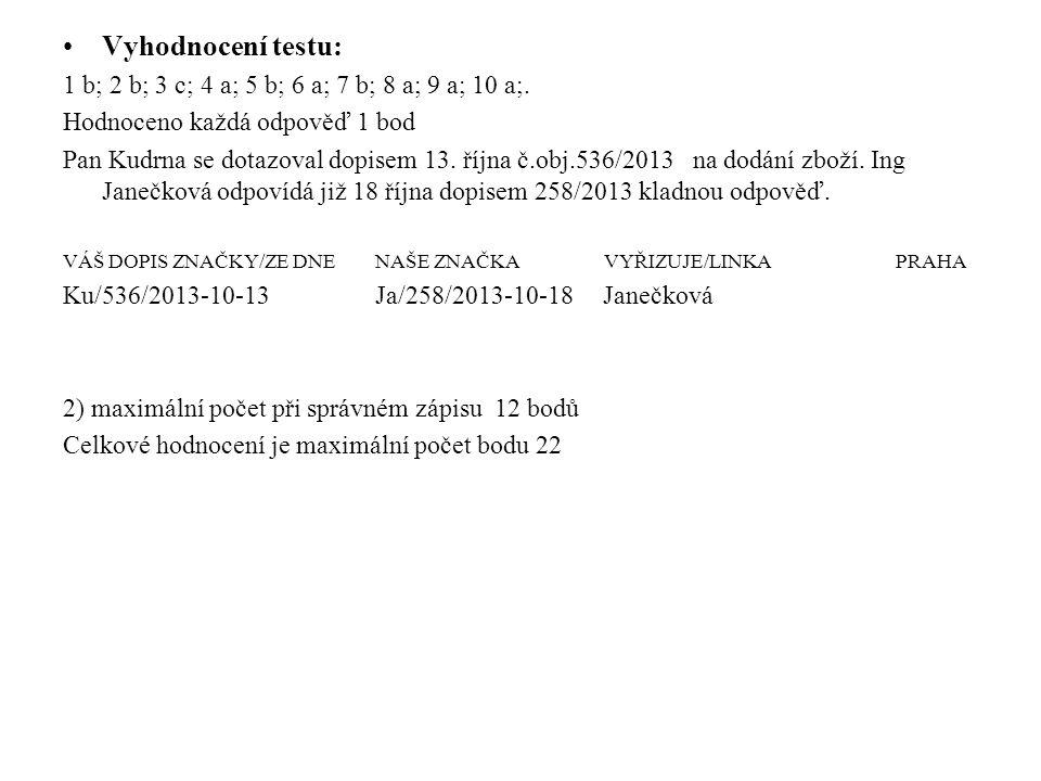 Vyhodnocení testu: 1 b; 2 b; 3 c; 4 a; 5 b; 6 a; 7 b; 8 a; 9 a; 10 a;.