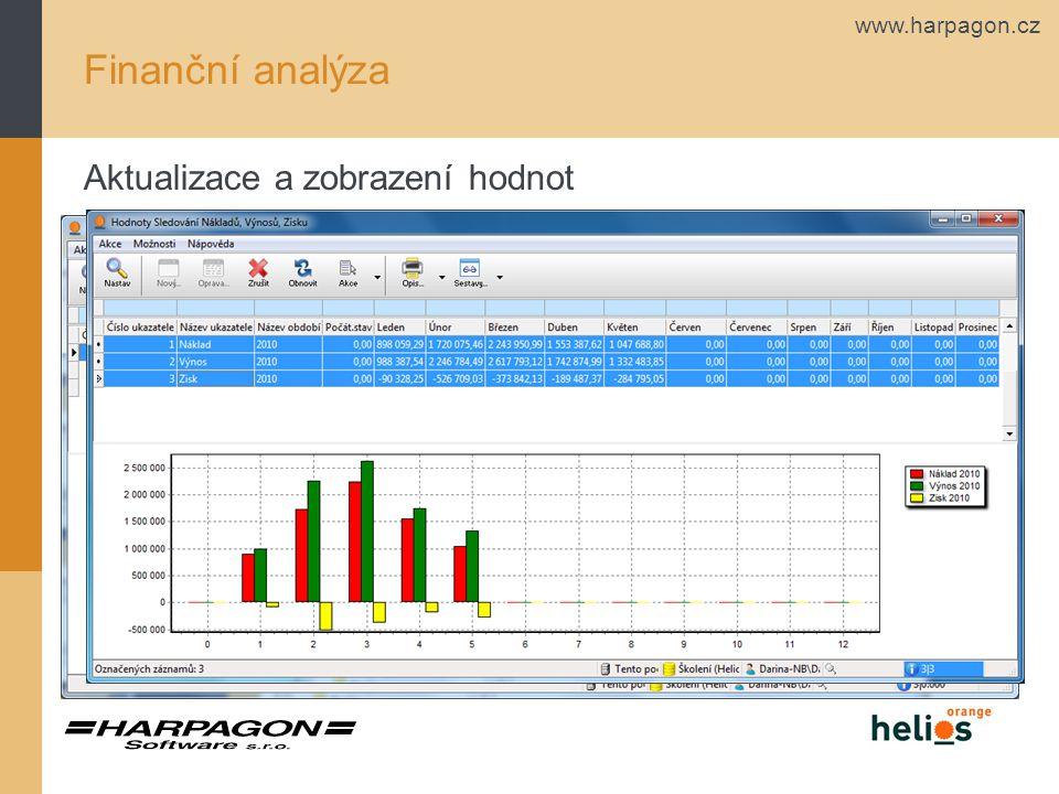 Finanční analýza Aktualizace a zobrazení hodnot
