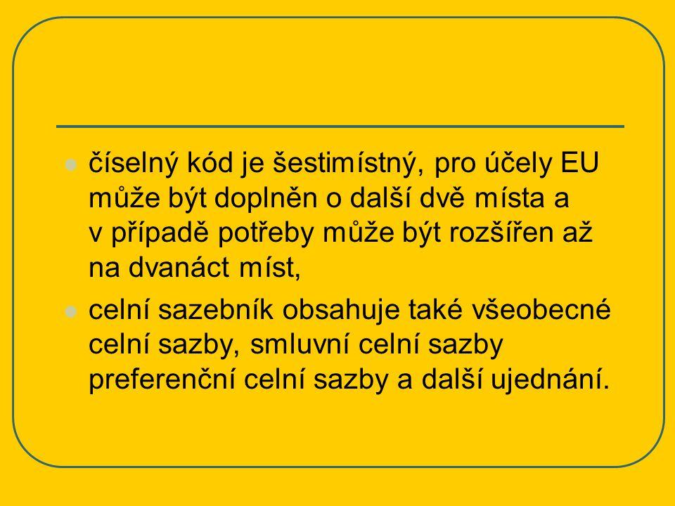 číselný kód je šestimístný, pro účely EU může být doplněn o další dvě místa a v případě potřeby může být rozšířen až na dvanáct míst,