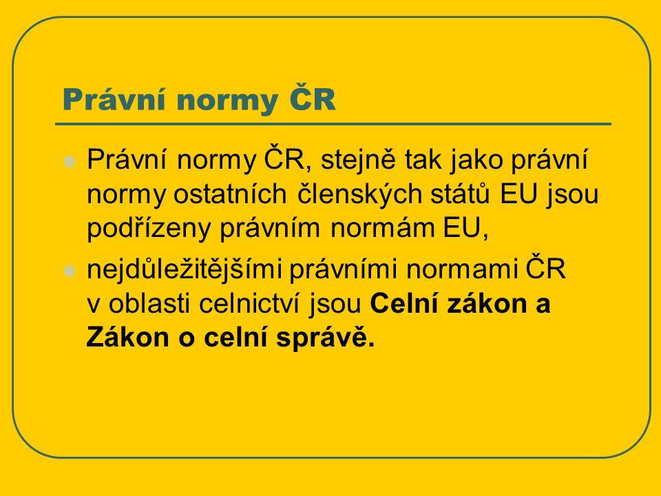 Právní normy ČR Právní normy ČR, stejně tak jako právní normy ostatních členských států EU jsou podřízeny právním normám EU,